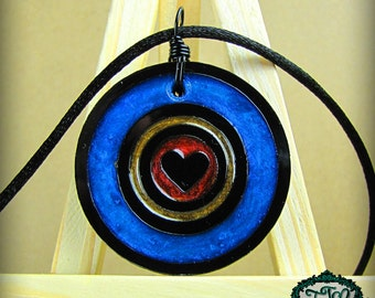 Colorful Bullseye Heart Resin and Acrylic OOAK Necklace in Blue, Copper and Gold