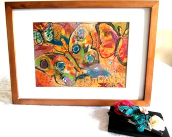A4 Art Print 'Celebrate Life' Mounted in an A3 Frame, Vibrant Butterfly Mixed Media Design