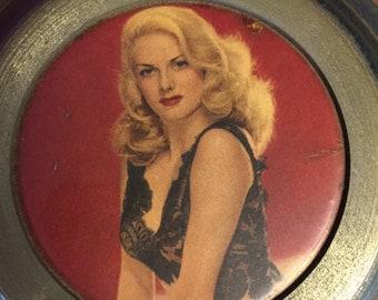 Vintage Pinup Girl Metal Music Jewelry Box
