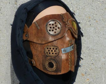 Brown Leather Rebel Mask Defiant Beard Burning Man Wasteland Weekend Dystopia Rising Borderlands Post Apocalyptic Survivor