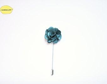 Malachite Green Floral Pin, Men Suit Lapel, Ribbon Pin, Flower Lapel, Floral Pin, Wedding Floral Ribbon