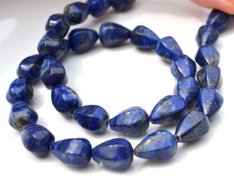 Fluted Lapis Long Drilled Teardrop Beads  4