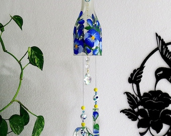 Glass Wind Chime, Recycled wine bottle wind chime, Flowers, Sun catcher, Royal blue, light blue, yard art, clear glass, Blue Pansy, Pansies