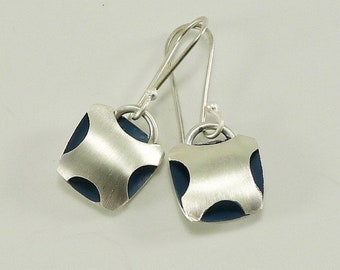 Sterling Silver Flying Squirrel Earrings  with Blue Pigment - E2600