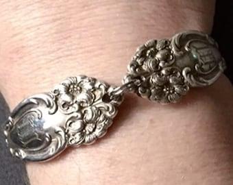 Vintage Tiger Lily Pattern Sterling Silver Monogram Letter M Spoon Bracelet