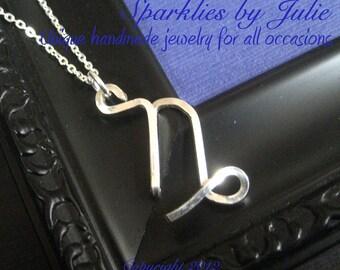 Capricorn Necklace  - Zodiac necklace, hand formed, sterling silver Astrological Symbol pendant