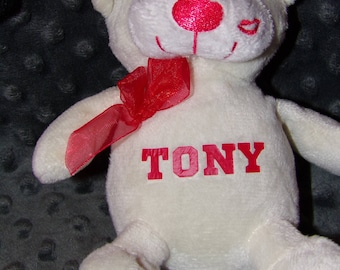 Personalized White Stuffed Bear Animal for Valentine's Day Customize Valentines Custom Plushie stuffie Valentine, Child Kid Children