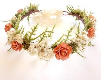 Dried Flower Crown, Coral Wedding, Flower Crown, Beach Wedding, Coral Flower Crown, Floral Headdress, Boho Wedding, Head Wreath, DUSTY CORAL