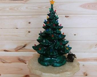 "Vintage 16"" Atlantic Mold Musical Ceramic Christmas Tree"