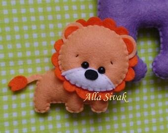 Lion toy, Felt lion, Plush lion, Stuffed felt Lion, Lion ornament, Jungle nursery decor, Lion magnet, Cute Lion, Safari stuffed animals,