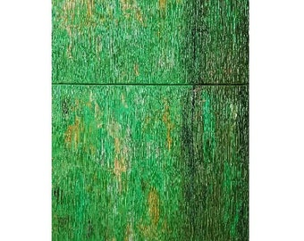 Original Abstract Modern Canvas Wall Home Decor Art Minimalist Green Yellow Two Piece House Home Contemporary