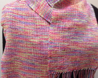 Handwoven  scarf in Candy rayon chenille