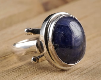 Size 7.5 Blue SAPPHIRE Ring - Sterling Silver Bezel Ring Handmade Jewelry - Natural Sapphire Stone Cabochon - Sapphire Jewelry J982