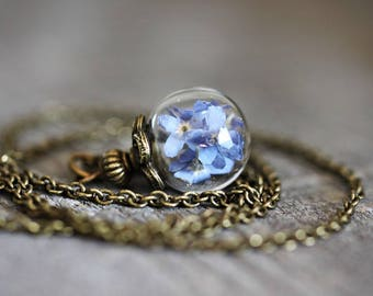 Small Forget me not Necklace Vintage Style Bronze