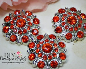 Large Rhinestone Buttons ORANGE- Rhinestone Crystal buttons Embellishments Acrylic Flower centers Headband Supplies 28mm 3 pcs 605040