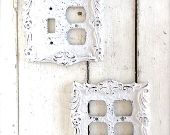 Shabby Chic Decor, Switch Plates, Switch Plate Outlet Combo, Outlet Plate, White Switch Plate, White Decor, Shabby Chic Home Decor, White