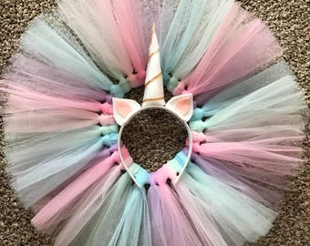 Unicorn Inspired Tutu - Unicorn costume - Birthday Outfit Set - Unicorn Headband - First Birthday Outfit - Pastel - Bright Colors