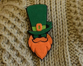 Saint Patrick's heads Red beard Green hat Red mustache Saint Patrick's Day Ireland Brooch Handmade brooch Gift for him Patriotic accessory