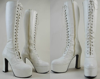 70s White Leather Lace Up Knee High Platform Boots UK 6 / US 8.5 / EU 39