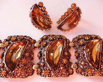 Pome ornate cuff bracelet | clip earrings set | Renaissance Revival | Selro style | very rare | verified | antiqued gold tone amber
