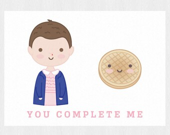 Stranger Things Cute Valentine's card - Eleven printable card - Funny Galentine's card - PDF DIY Printable 6x4 inch