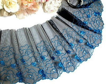 "DN569- 8"" Black Embroidered Tulle Blue flower Mesh Lace Trim by Yard"