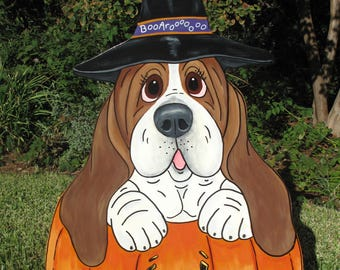 "Hand Painted Basset Hound Yard Art - ""Lucy and The Magic Pumpkin"""