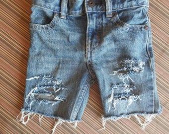 Custom hand distressed denim shorts or jeans