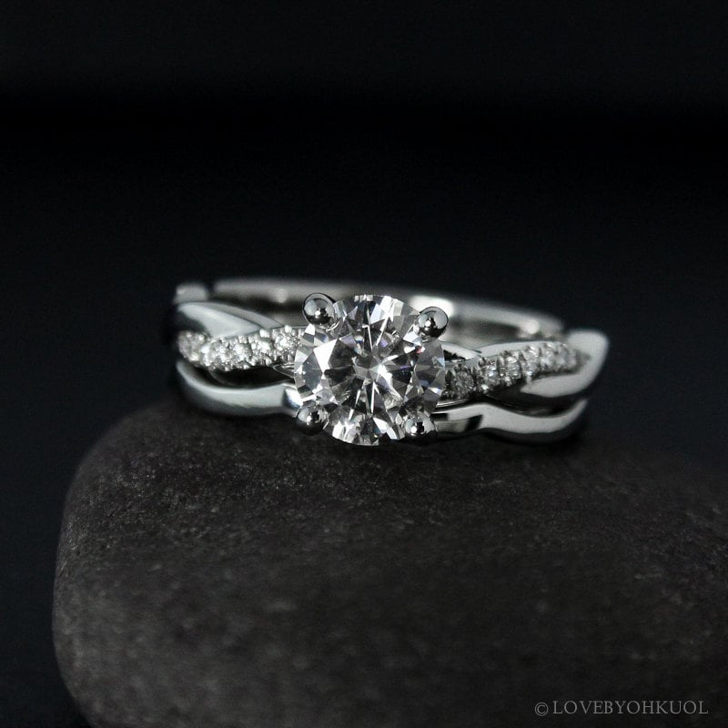 Forever e Moissanite Engagement Ring on Twisted Vine Band