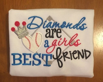 Diamonds are a Girls Best Friend Baseball Shirt or Baby Bodysuit