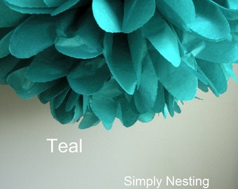Teal Tissue Paper Pom Poms - Baby Shower - Fall Colors -  Decoration - Wedding - Nursery - Bridal Shower - Birthday Party Decor
