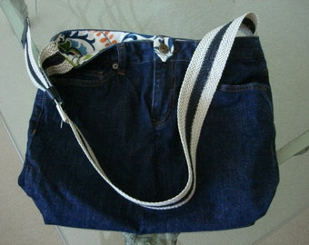 Recycled jeans bag with genuine leather strap