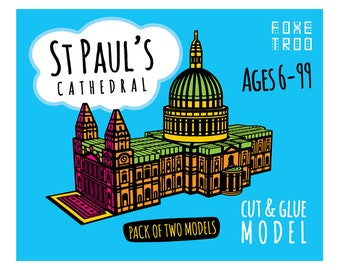 St Paul's Cathedral in London || FoxeTroo Cut-Out Paper Model Kit for Kids || Pack of Two Models