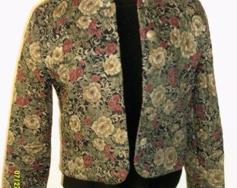 Woman's Vintage Cotton Quilted Short Jacket, size 6, Made in USA by Orvis, Womans size 6, Womans Quilted Jacket, Womans Cotton Jacket