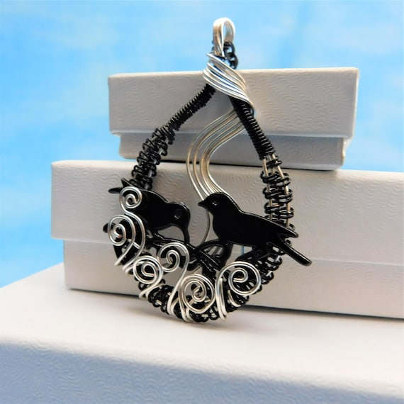Bird Nest Necklace Blackbird Jewelry Mother in Law Gift Unique Wire Wrapped Handmade Pendant Birthday Anniversary Present Ideas for Women