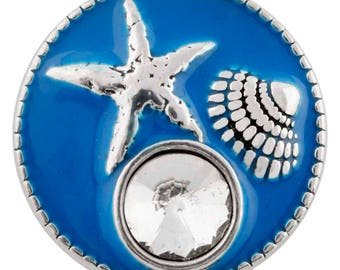 1 PC - 18MM Nautical Shell Blue Enamel Silver Charm for Snap Jewelry KC6453 CC3941
