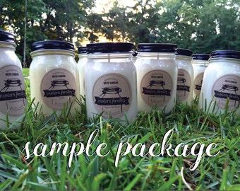 Candle Sale Bundle, mason jar candle, natural soy candle, wholesale sample, candle sample, sample candle, fall samples, spring samples