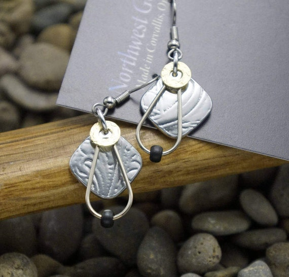 Silver and Brass earrings on surgical steel ear wires