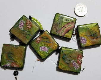 Polymer Clay Bead Set of Abstract Flower Scene