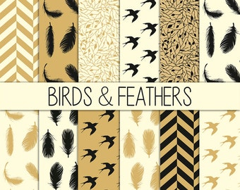 Birds & Feathers - Instant Download - Set of 12 Paper - 12x12 inch - Digital Paper Pack - Scrapbooking, Web design, Card making