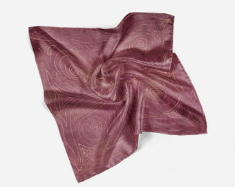 Square handkerchief, Mother's day gift, Silk handkerchief, Handkerchief, Hand painted, Head scarf, Boho chic, Brown Watercolor, gold gutta