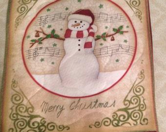 Holiday  Snowman Mug Rug