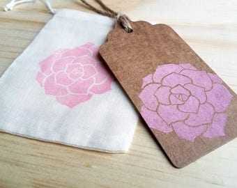 Peony gift tags | set of 10, handmade gift tags, pink flower tags, gift wrapping, wedding tags