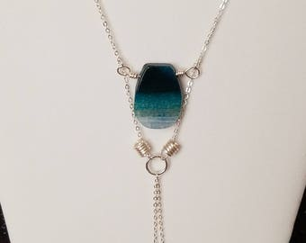 Silver Necklace with Blue Focal Stone Pendant