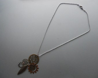 Steam Punk Watch Gear Findings Feather Cog Necklace Pendant