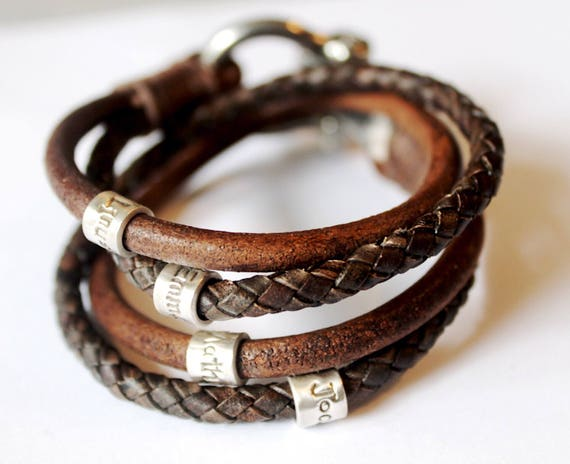 Mens Personalised Bracelet Fathers Day Leather Bracelet