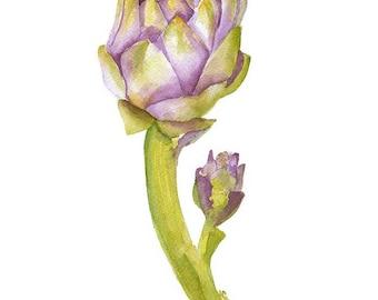 Artichoke Watercolor Painting - 8 x 10 - Giclee Print - Botanical Art - Kitchen Art - 8.5 x 11