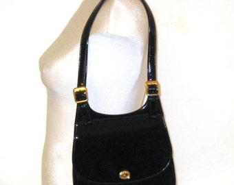 60s Black Handbag Patent Pocketbook Black Patent Purse Black Pocketbook 1960s Black Purse Faux Patent Handbag Vegan Friendly Purse