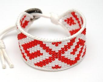 Fairytale gift Girlfriend Gift for women gift Bead Loom bracelet Bead bracelet Handmade Tribal bracelet Beaded Cuff bracelet Ethnic bracelet