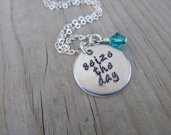 "Inspiration Necklace- ""seize the day"" with an accent bead in your choice of colors- Hand-Stamped Jewelry"